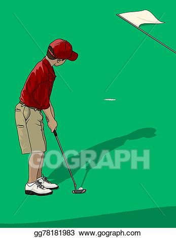 Vector illustration boy putting. Golfer clipart golf ground