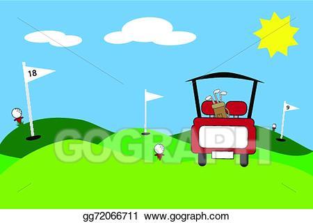 Golf clipart golf scene. Vector art eps gg