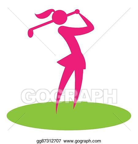Woman shows female player. Golf clipart golf swing