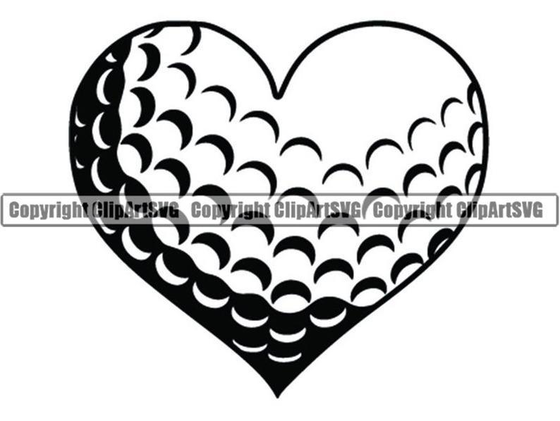 Love ball tournament club. Golf clipart heart