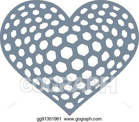 Golf clipart heart. Vector illustration ball eps