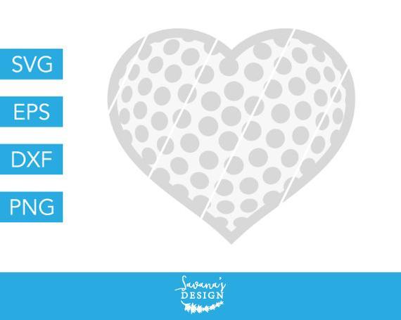 Golf clipart heart. Svg ball sports