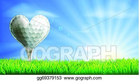 Vector stock shaped ball. Golf clipart heart