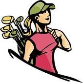 Vintage golfer clip art. Golf clipart lady golf