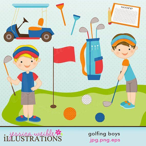 Boys cute digital commercial. Golfing clipart boy
