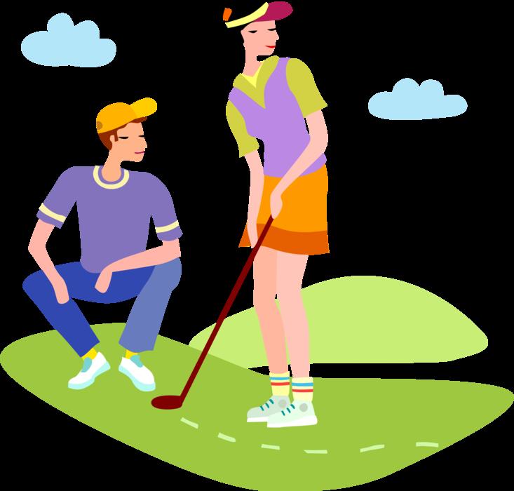 Golfing clipart golf team. Golfers line up putt