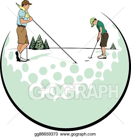 Vector art father son. Golf clipart putting green