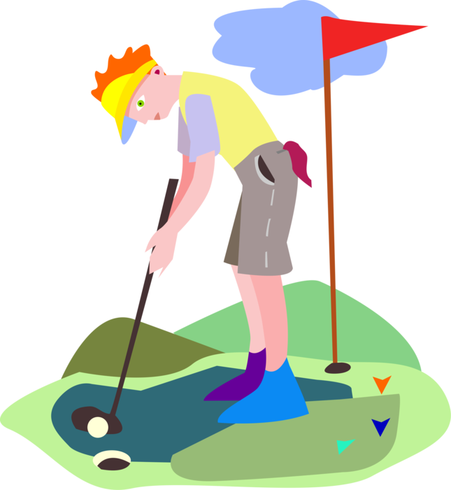 Golf clipart putting green. Golfing on vector image
