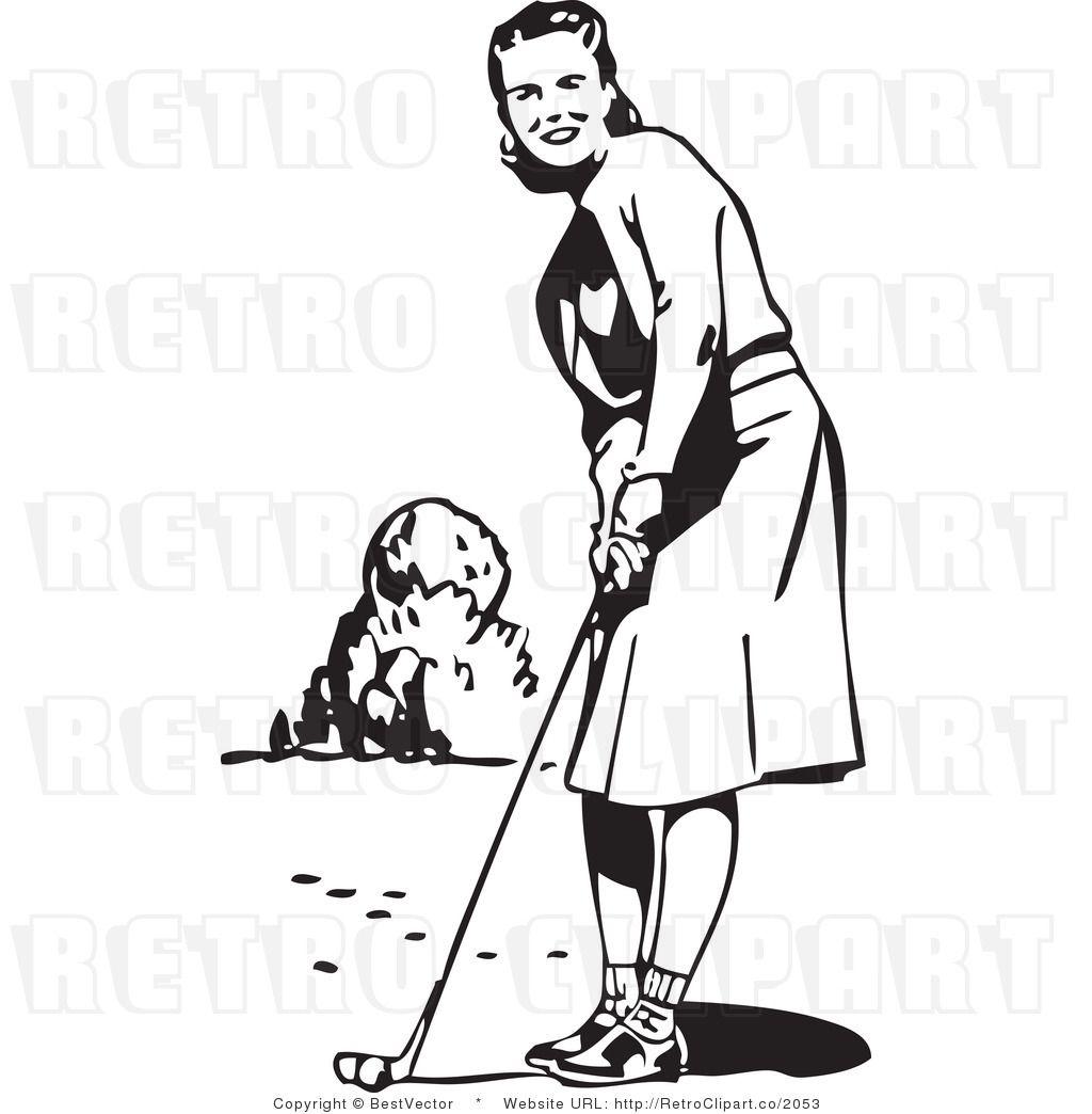 Vintage lady clip art. Golfer clipart retro