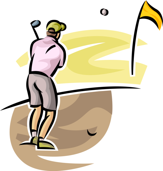 Golfer plays ball out. Golf clipart sand trap