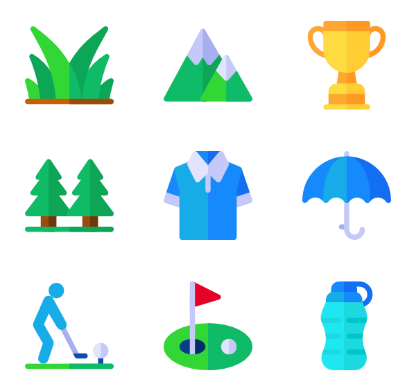 Golf icons free. Golfer clipart vector
