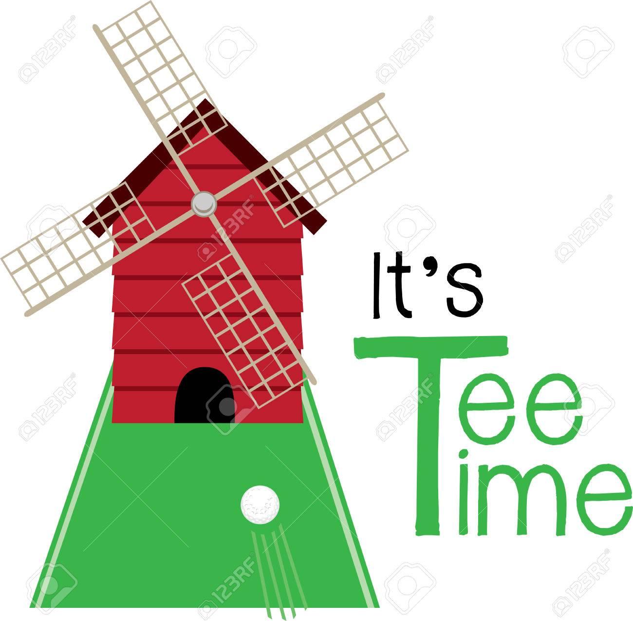 Mini golf portal . Golfing clipart windmill