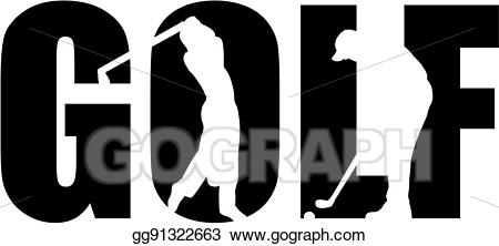 Vector stock with cutout. Golf clipart word