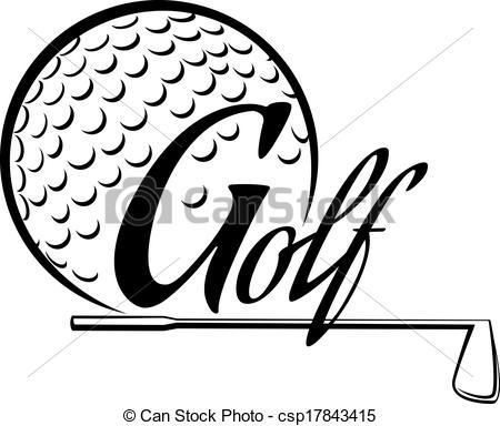 Golf clipart word.  clip art black