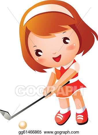 Vector stock girl playing. Golfer clipart baby