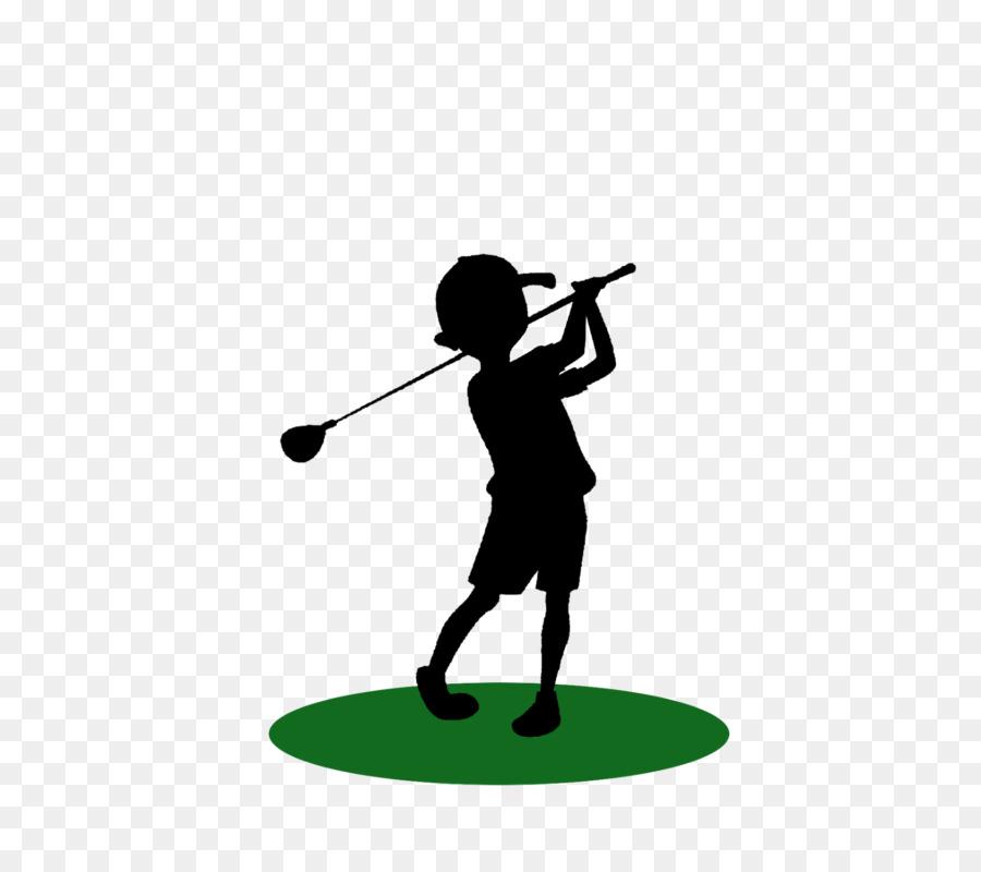 Golf background silhouette line. Golfer clipart child