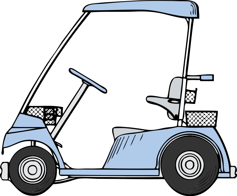Golfing clipart golf buggy. Free blue cart clip