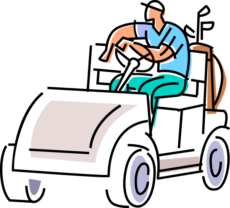 Waits in electric cart. Golfer clipart golf buggy