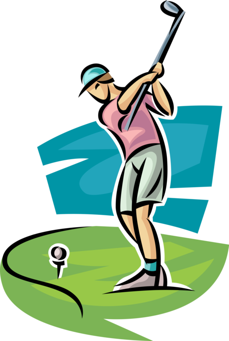 Golfing clipart golf team. Golfer swings club vector