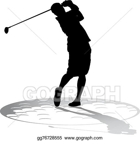 Golfer clipart shadow. Vector illustration male with
