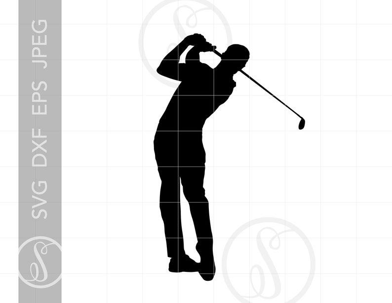 Silhouette cut file jpg. Golfer clipart svg
