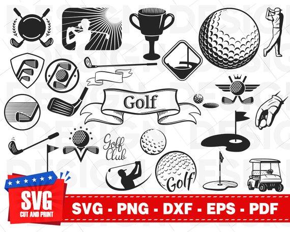 Golf bundle ball club. Golfer clipart svg