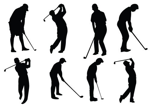 Golfer clipart vector. Female silhouette formal coolers
