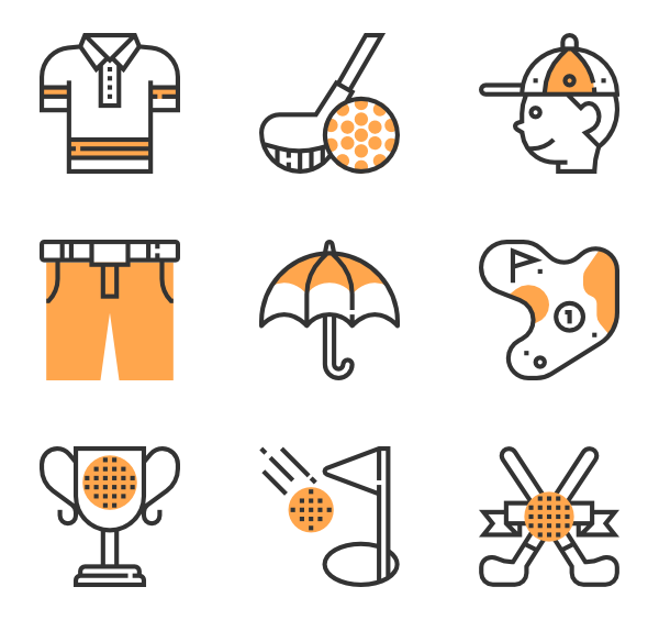 golf elements icon. Golfer clipart vector