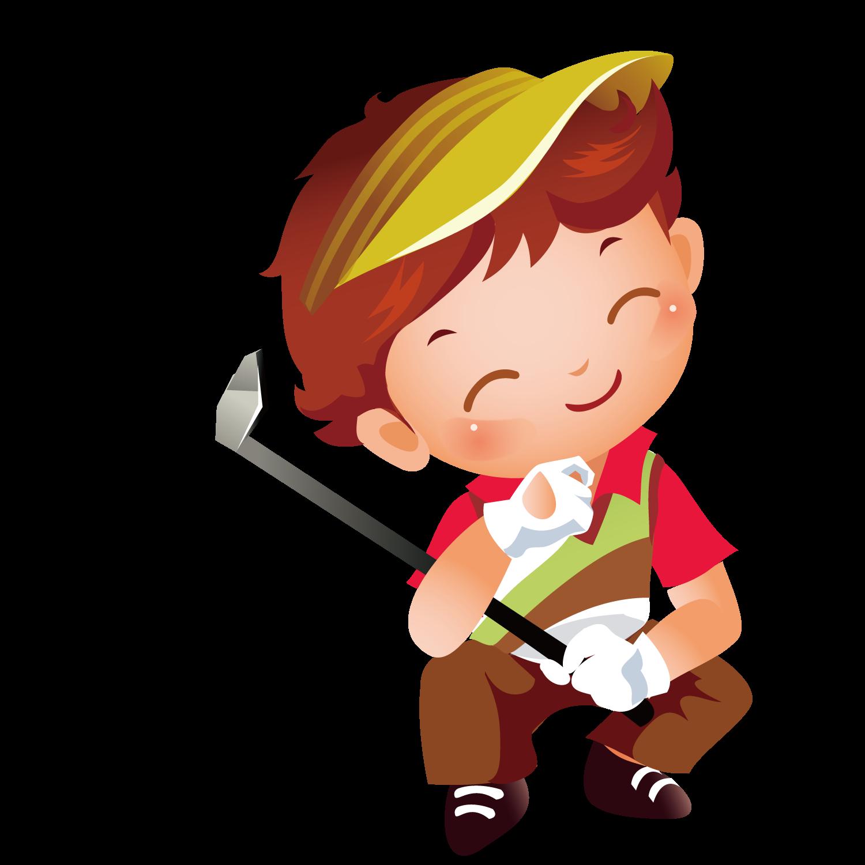Golf icon playing transprent. Golfing clipart boy