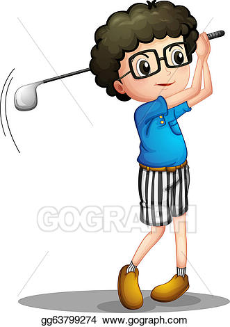 Golfing clipart boy. Vector illustration a young
