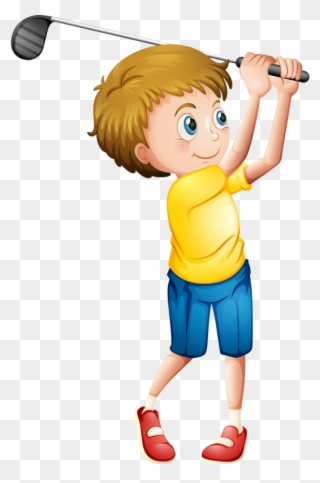 Golfing clipart boy. Free png playing golf
