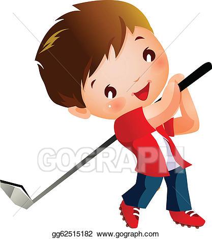 Golfing clipart boy. Eps vector playing golf