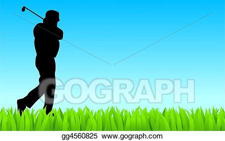 Golfing clipart golf field. Stock illustration golfer clip