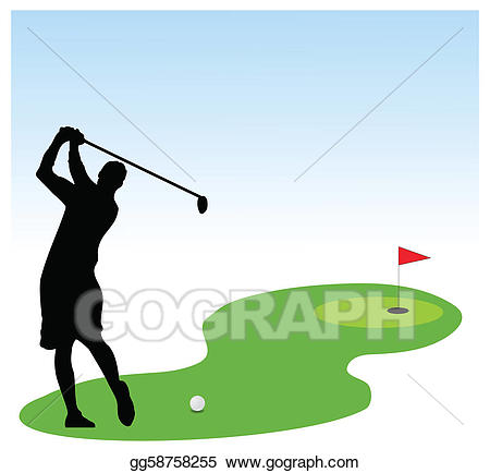 Eps vector player illustration. Golfing clipart golf field