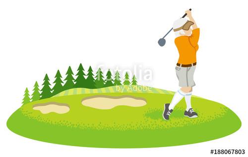 Golfing clipart golf field. Female senior golfer in