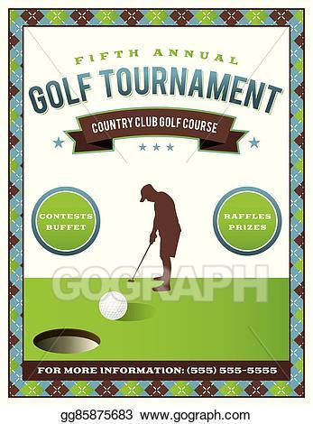 Golfing clipart golf scramble. Vector illustration tournament flyer