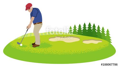 Male senior golfer in. Golfing clipart retired man