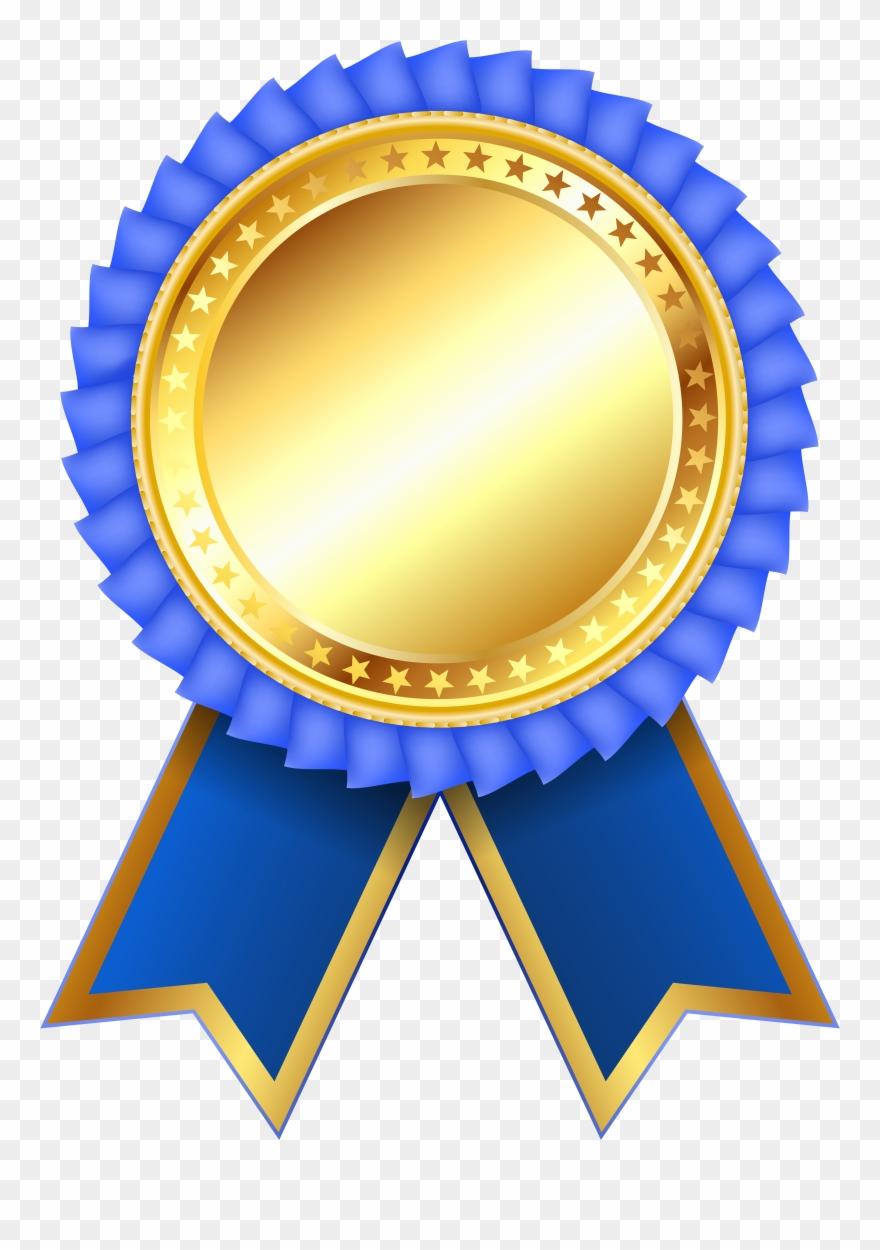 Award rosette png clipar. Medal clipart blue