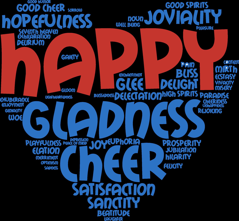 Joyful heart typography big. Words clipart joy
