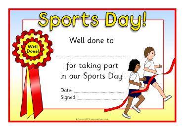 Sports day certificates awards. Pe clipart sport achievement