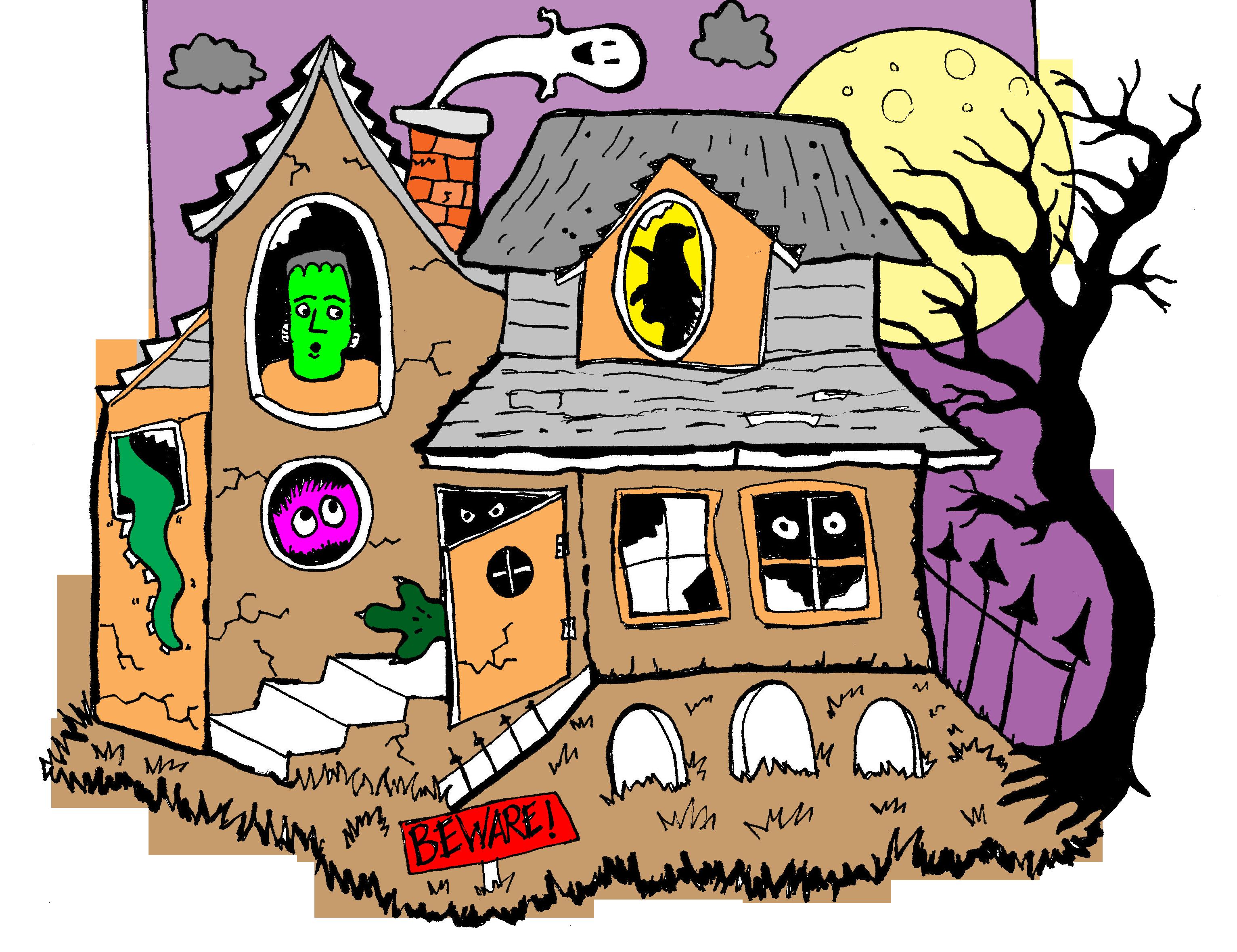 House clipart thanksgiving. Fun haunted clip art