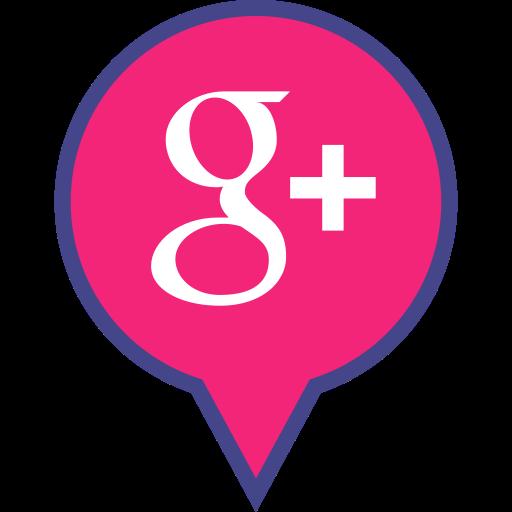Social media plus logo. Google pin png