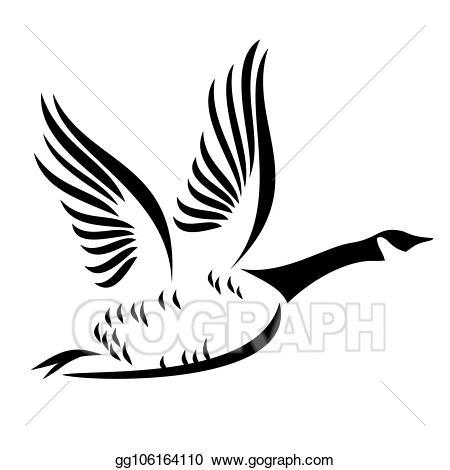 Goose clipart canada goose. Clip art vector flying
