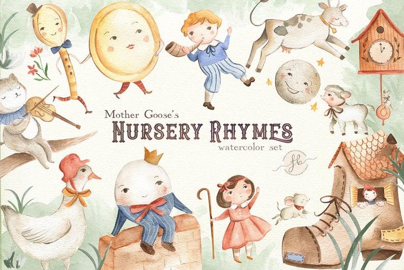 Watercolor mother rhymes digital. Goose clipart nursery rhyme