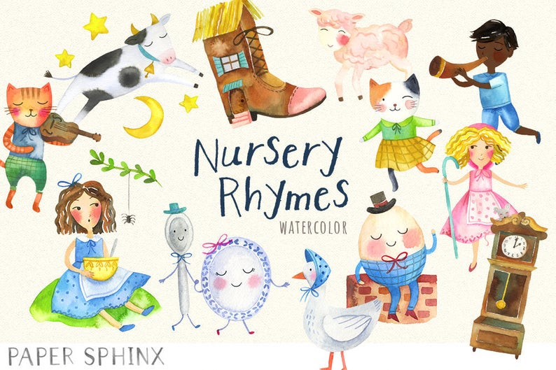 Goose clipart nursery rhyme. Watercolor rhymes mother clip