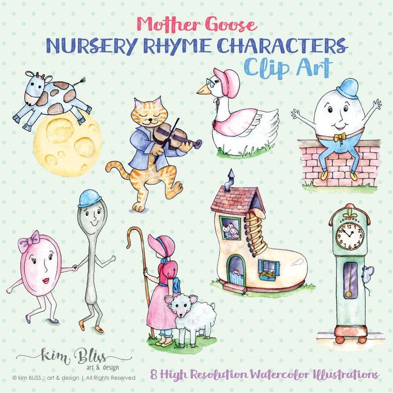 Goose clipart nursery rhyme. Digital clip art mother