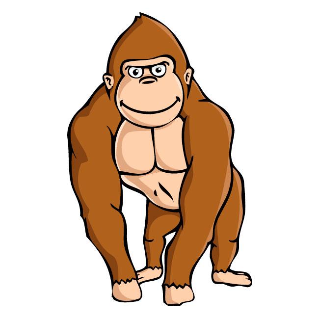 Gorilla clipart. Powerful ape printable coloring