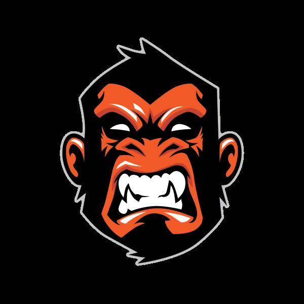 Printed vinyl head orange. Gorilla clipart ape