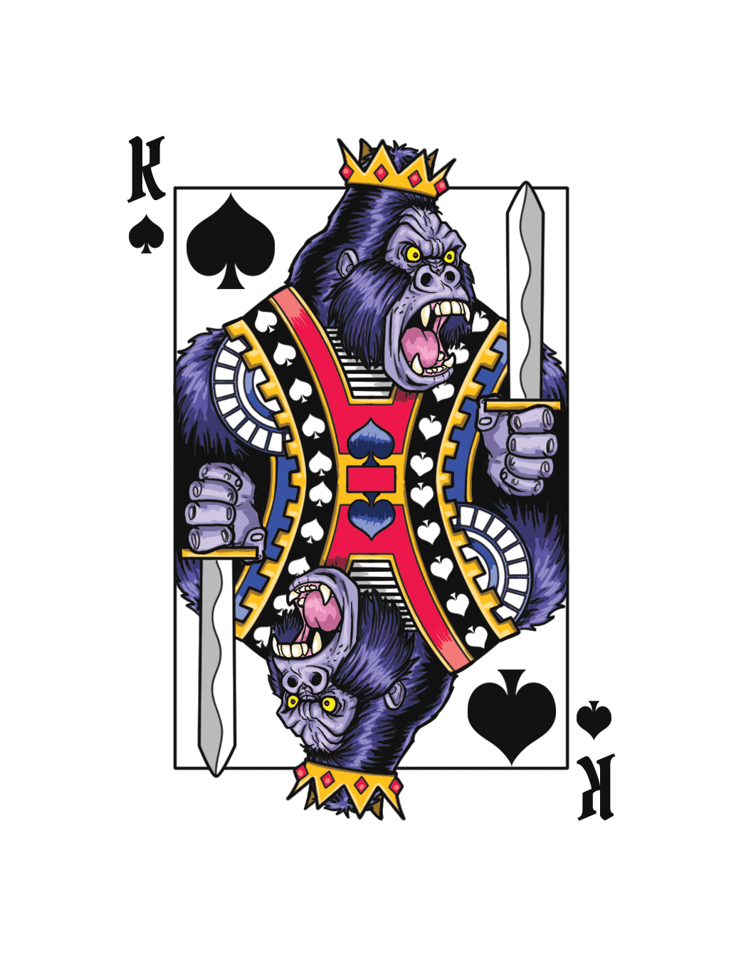 Deck harambe playing cards. Purple clipart gorilla