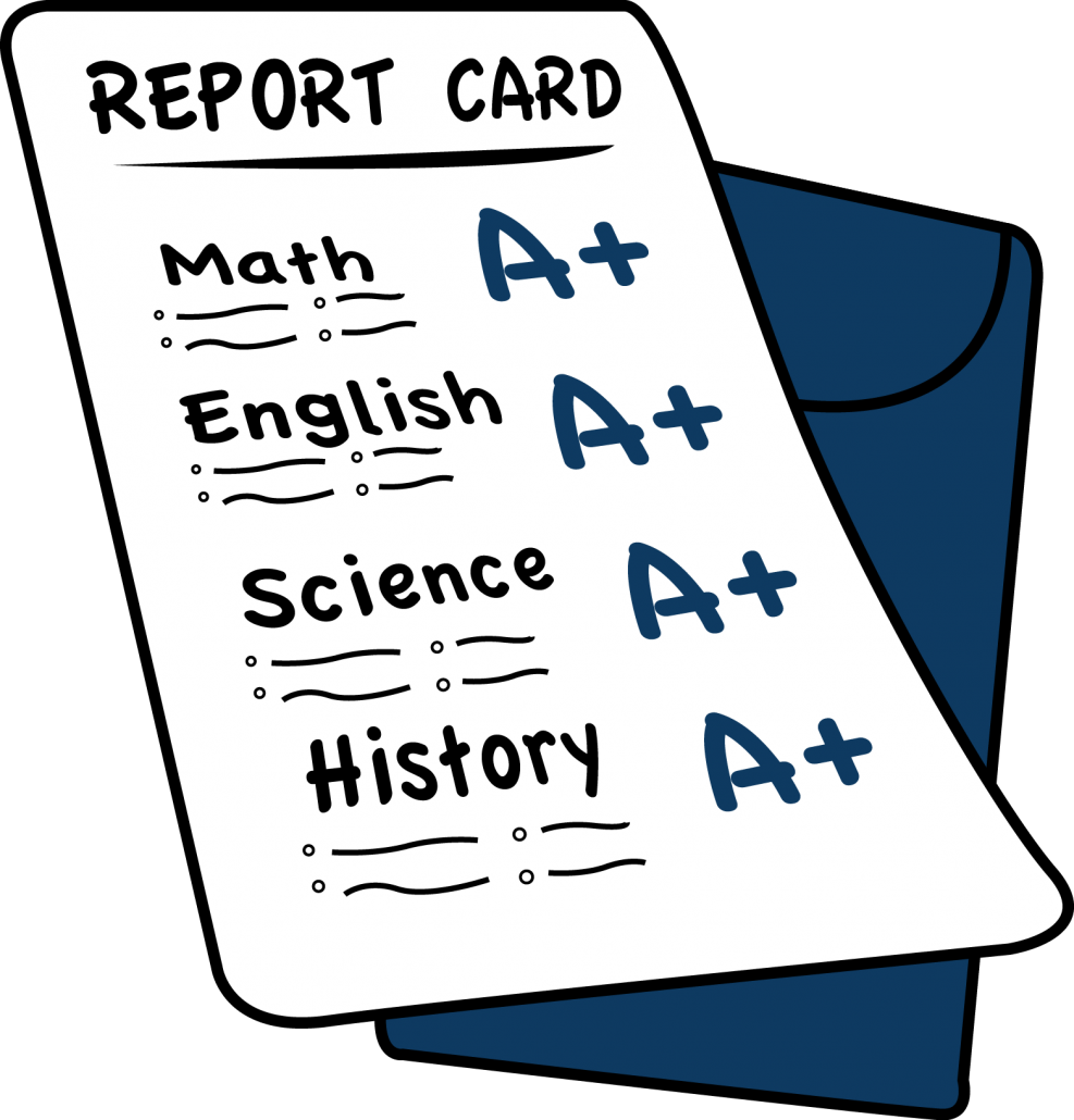 Midterms cards and grades. Report clipart weekly report